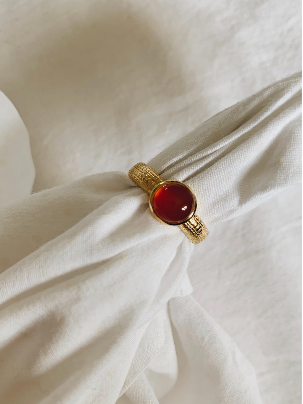 Red agate gold plated sterling silver ring