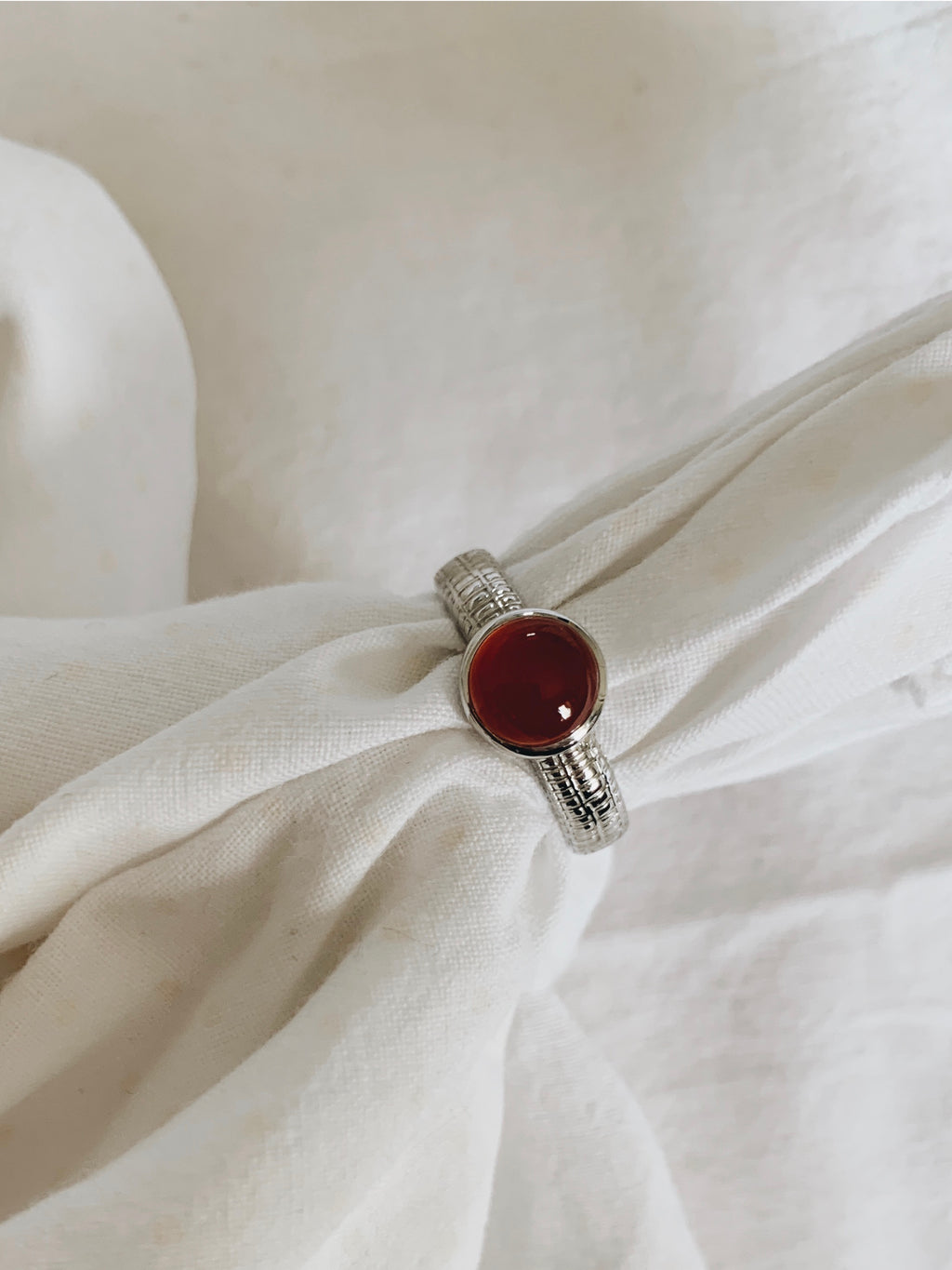 Sterling silver ring with red agate gemstone by Roze Amélie