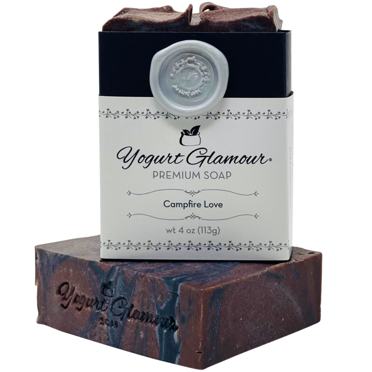 Campfire Love Yogurt Natural Handmade Soap-Smoky, Sweet and Woodsy Scent with Charcoal(3.5 oz)-Yogurt Bar Soap-Yogurt Glamour Skin Care and Soaps