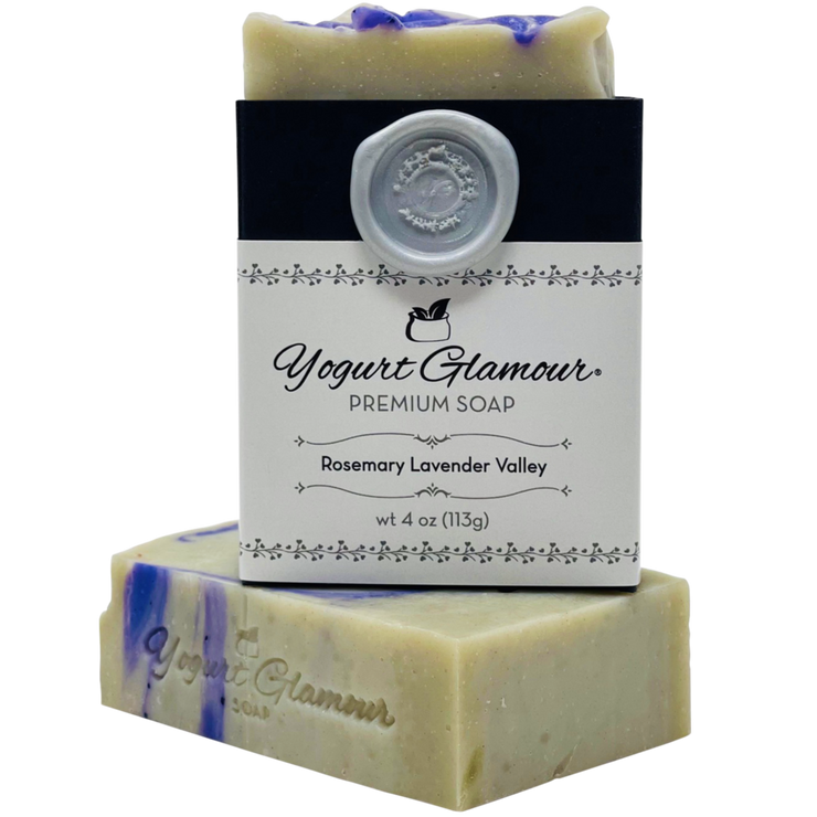 Rosemary Lavender Valley Yogurt Natural Handmade Soap-With Essential Oils of Rosemary and Lavender (4oz)-Yogurt Bar Soap-Yogurt Glamour Skin Care and Soaps