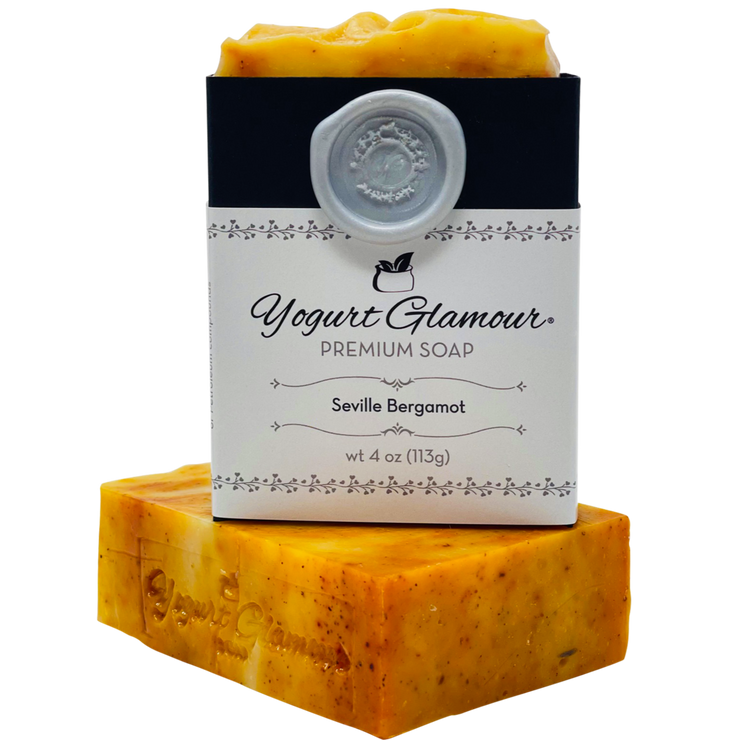 Seville Bergamot Yogurt Natural Handmade Soap-With Essential Oil of Bergamot(4 oz)-Yogurt Bar Soap-Yogurt Glamour Skin Care and Soaps