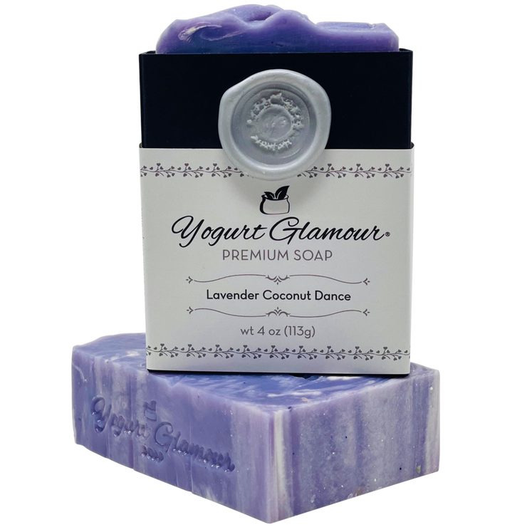 Lavender Coconut Dance Yogurt Natural Handmade Soap-With Essential Oil of Lavender and Sweet Coconut Scent(4oz)-Yogurt Bar Soap-Yogurt Glamour Skin Care and Soaps