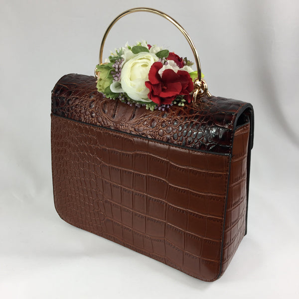 Classic Clara Handbag in Brown - Handmade Vintage Inspired
