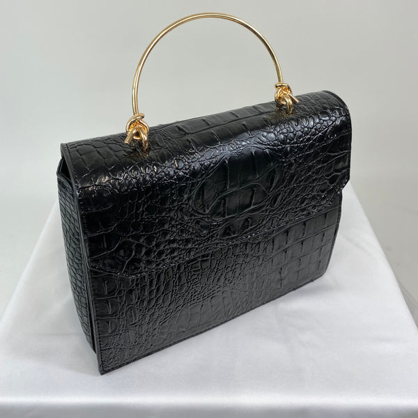 Classic Clara Handbag in Black - Vintage Inspired