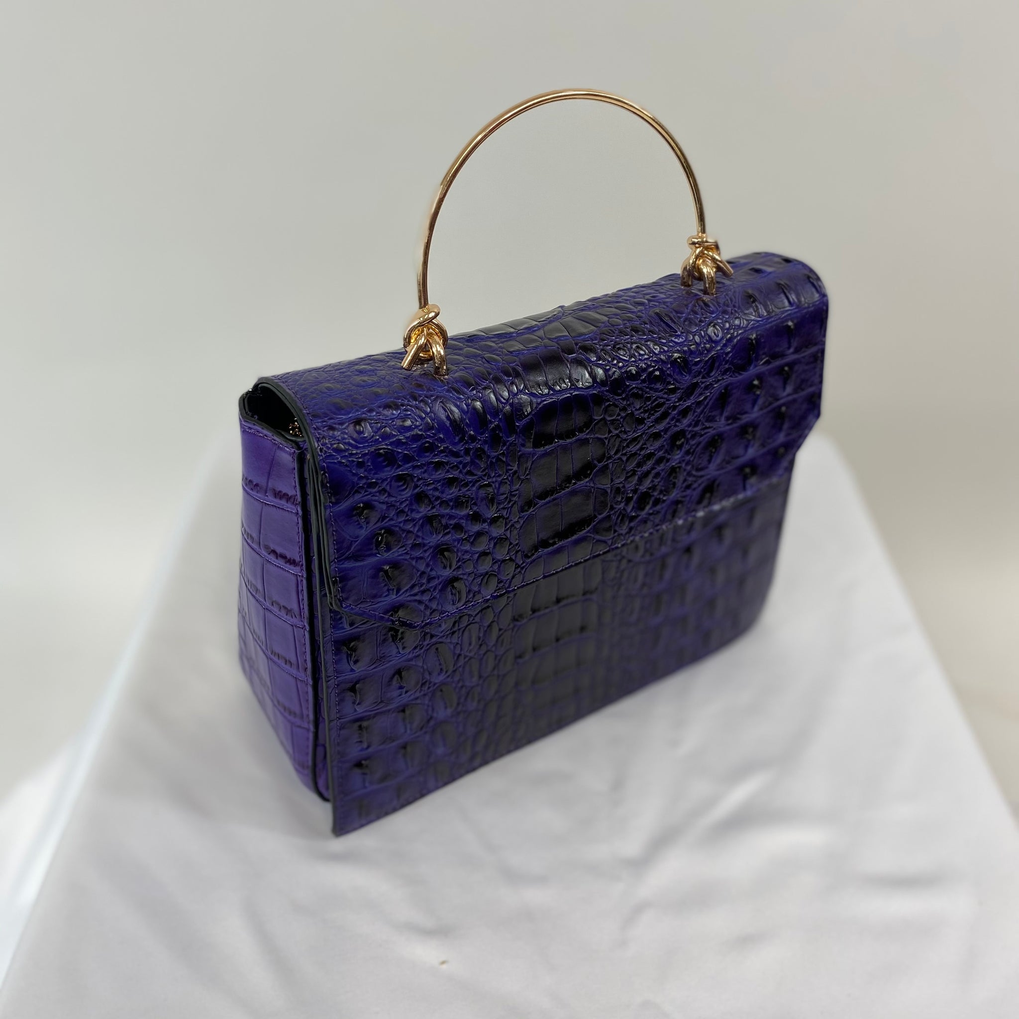 Classic Clara Handbag in Deep Purple - Vintage Inspired