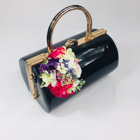 Classic Emma Barrel Handbag in Black - Handmade Vintage Inspired