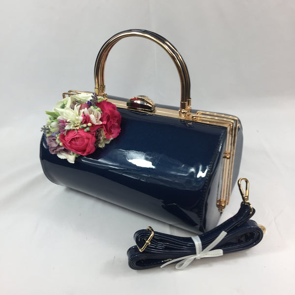 Classic Emma Barrel Handbag in French Blue - Handmade Vintage Inspired