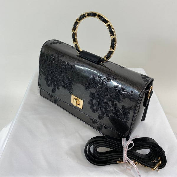 Classic Evie Handbag in Black Slate - Vintage Inspired