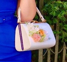 Classic Kelly Handbag in White with Blooms - Handmade Vintage Inspired