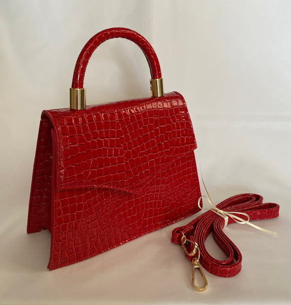 Classic Penny Handbag in Red Velvet - Vintage Inspired