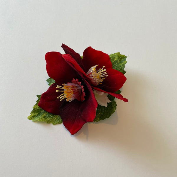 Classic Vintage Red Poinsettia Hair Clip