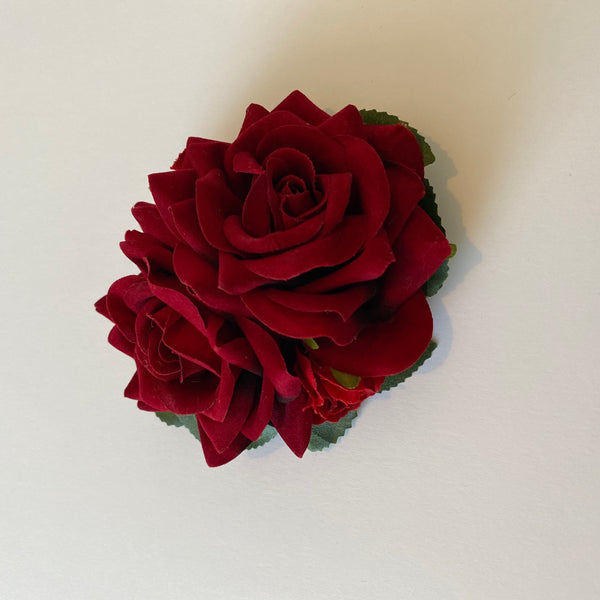 Classic Vintage Red Rose & Hydrangea Hair Clip
