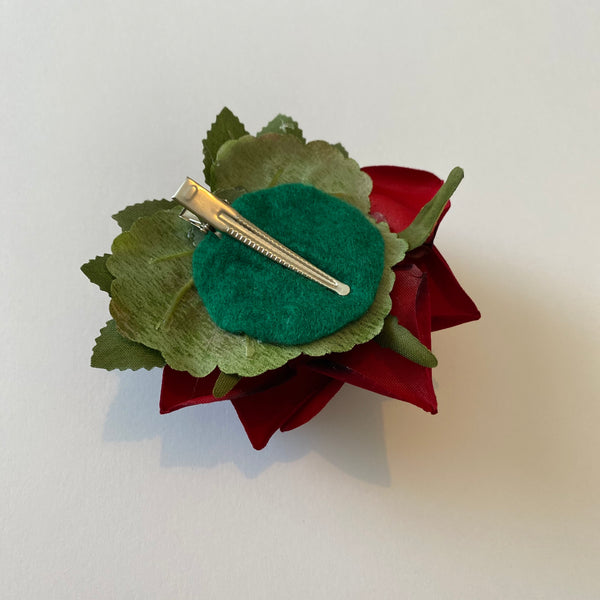 Classic Vintage Red Rose Hair Clip