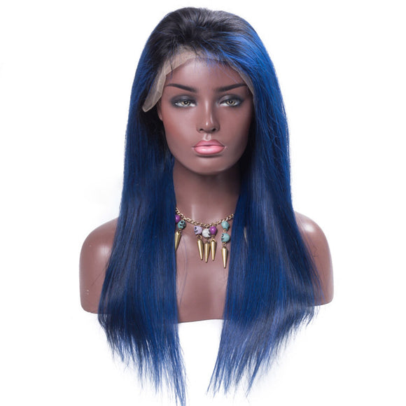 Blue color  front lace wig 100% human hair - Vinuss fashion hair