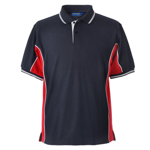 Elite Polo with SOC Logo - Navy Blue/Red