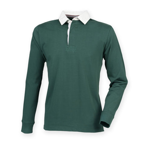 'New Style' Brushed Cotton Rugby Shirt with SOC Logo - Bottle Green