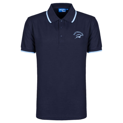 Mens Retro Polo with SOC Logo - Navy/Sky