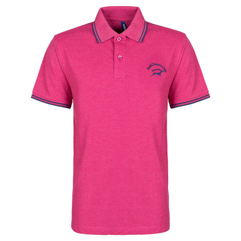 Contrast Polo with SOC Logo - Heather Red/Navy