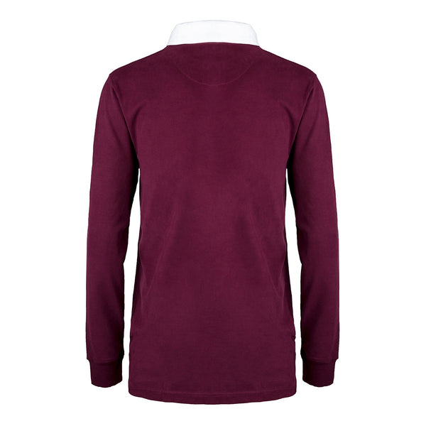 'New Style' Brushed Cotton Rugby Shirt with SOC Logo - Burgundy