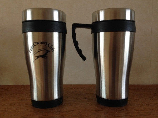 Stainless Steel effect Travel Mug with Printed SOC Logo