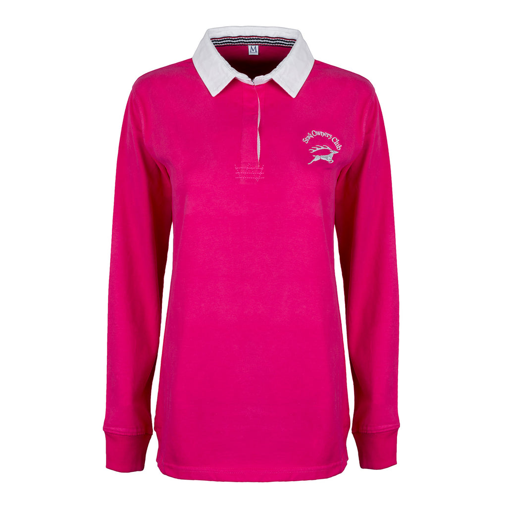 'New Style' Brushed Cotton Ladies Rugby Shirt with SOC Logo - Fuchsia