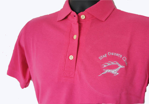 Fuschia Ladies Polo Shirt with SOC logo