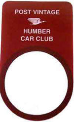 Humber Club Windscreen Licence Holder