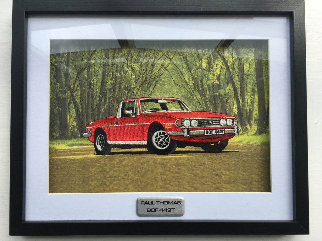 Embroidered Triumph Stag Framed & Mounted Print