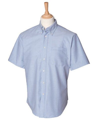 Mens Short Sleeve Blue Oxford Shirt with Navy SOC Logo