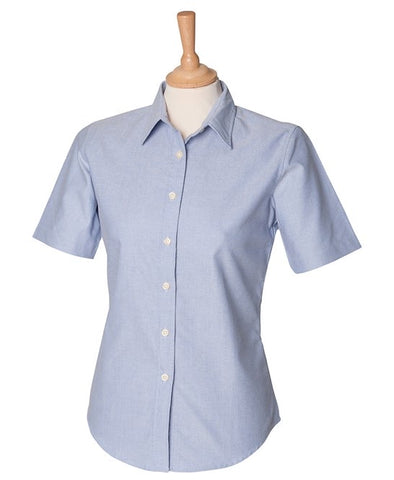 Women's Short Sleeve Classic Blue Oxford Shirt