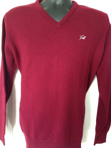 Lambswool V Neck Jumper in Burgundy with embroidered Leaping Stag Logo
