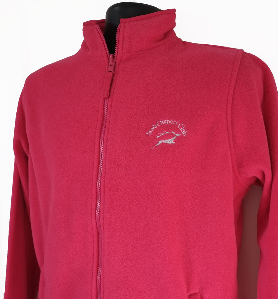 Ladies Fuchsia Zip Fleece Jacket