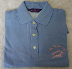 Cornflower Blue Ladies Polo Shirt with SOC logo