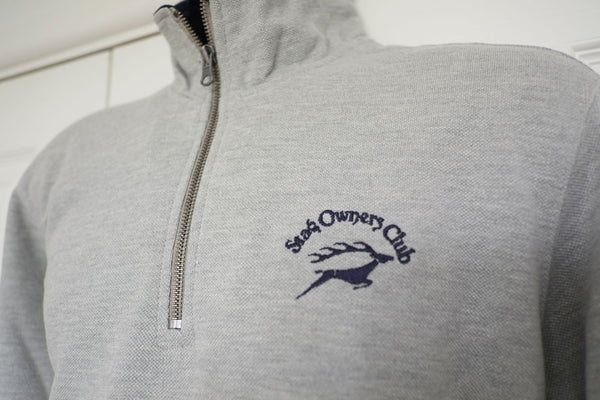 Trucker Zip Sweatshirt in Heather Grey/Navy with SOC Logo