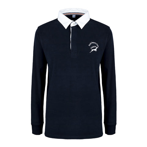 'New Style' Brushed Cotton Rugby Shirt with SOC Logo - Navy Blue