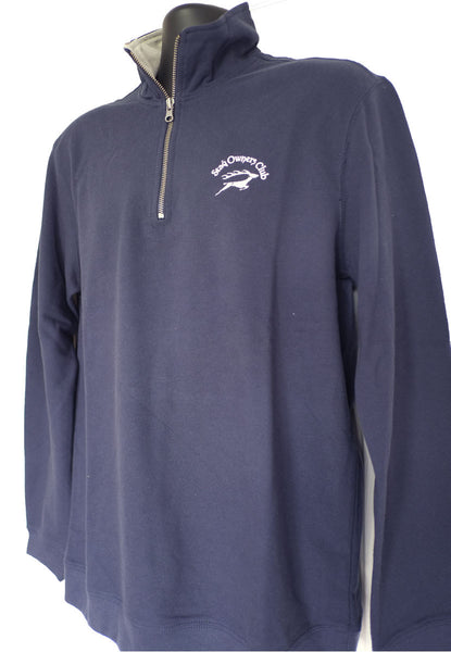 Trucker Zip Sweatshirt in Navy/Heather Grey with SOC Logo