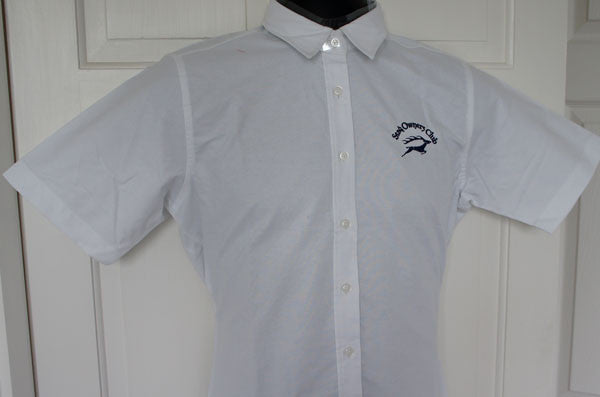 Women's Short Sleeve Classic White Oxford Shirt (Size 12)