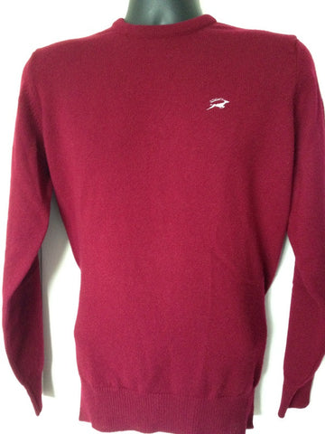 Lambswool Crew Neck Jumper in Burgundy with embroidered Leaping Stag Logo