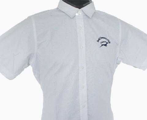 Women's Short Sleeve Classic White Oxford Shirt with Navy SOC Logo