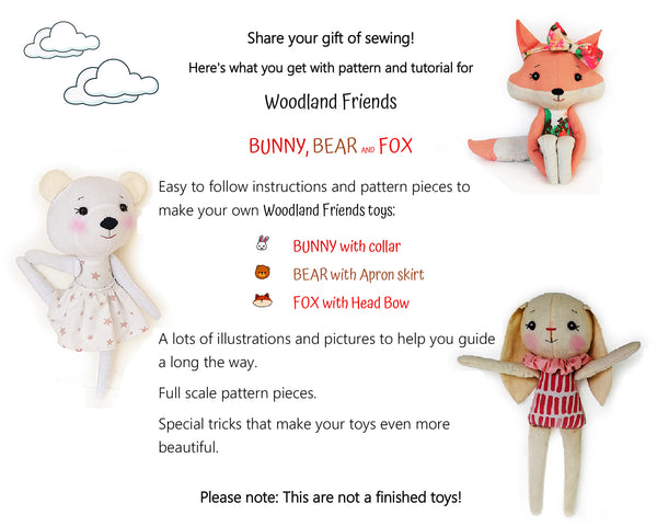 Set of 3 PDF Woodland Friends Bunny, Bear and Fox - Sewing Patterns and Tutorials 09