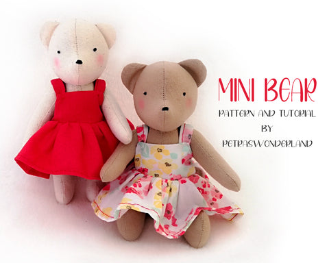Mini Bear 6 inch - PDF doll sewing pattern and tutorial