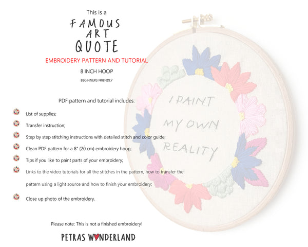 Famous Art Quote - PDF embroidery pattern and tutorial 10
