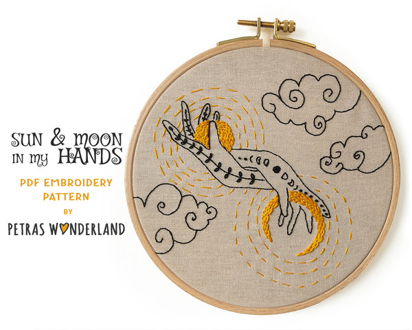 Sun and Moon in my Hands -  PDF embroidery pattern and tutorial