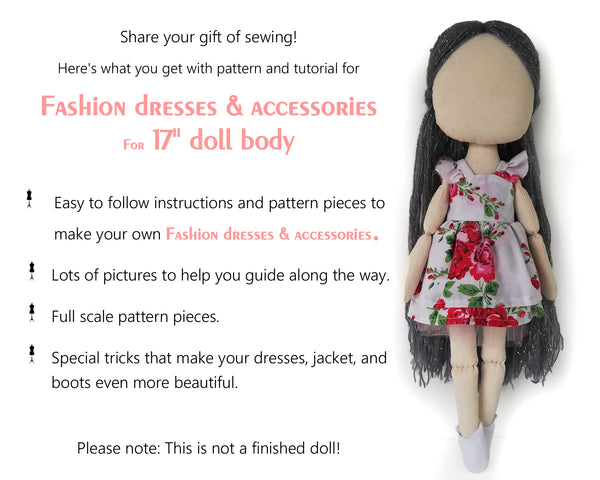 Set of three dresses, jacket and boots for doll 17 inch - PDF sewing pattern and tutorial 09