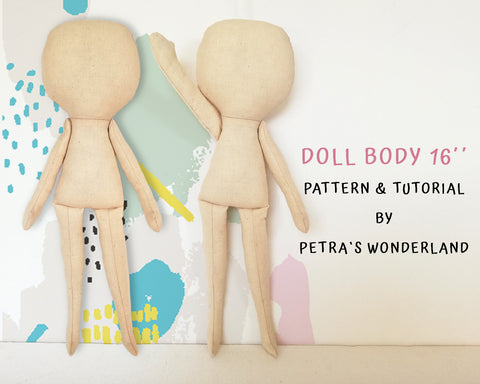 Doll Body 16 inch - PDF doll sewing pattern and tutorial