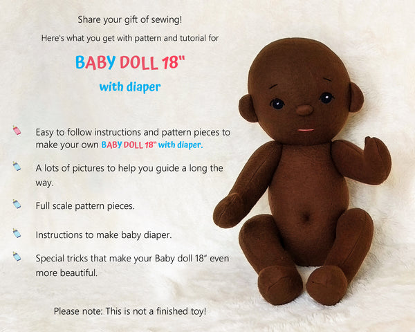 Baby Doll 18 inch - PDF doll sewing pattern and tutorial 11
