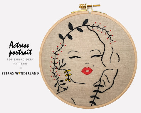Marilyn Monroe - PDF embroidery pattern and tutorial