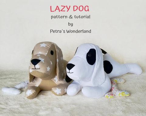Lazy Dog - PDF doll sewing pattern and tutorial