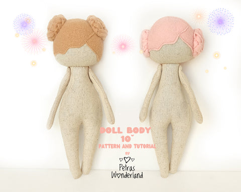 Doll Body 10 inch with hair - PDF sewing pattern and tutorial