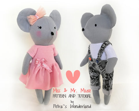 Miss and Mr. Mouse - PDF doll sewing pattern and tutorial